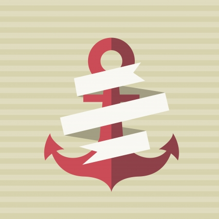 card with an anchor and a tape Vector