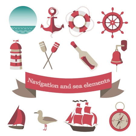 navigation and sea icons and elements with an anchor, the ships, a lifebuoy Vector