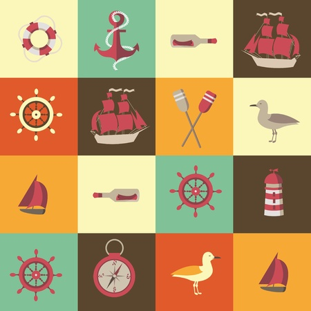 navigation seamless background with sea elements Vector