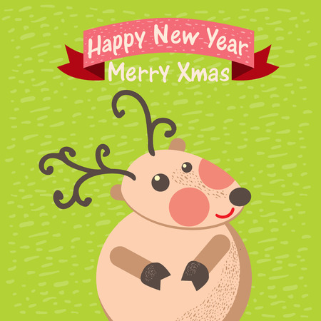 Cute Christmas reindeer card Vector