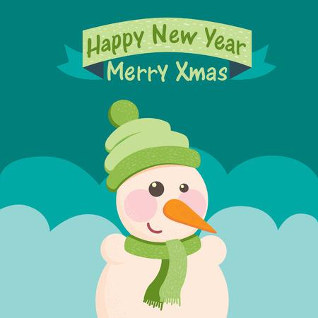 Funny Christmas postcard with snowman illustration Vector