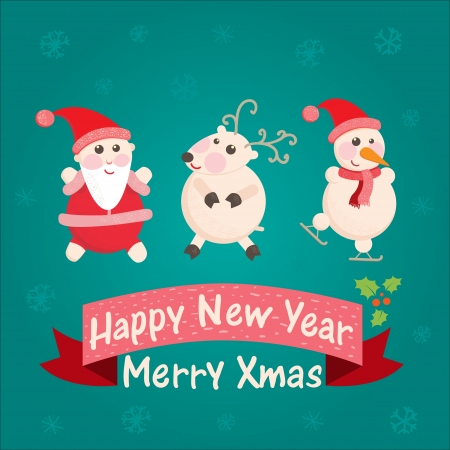 greeting card with Santa Claus, snowman and reindeer Vector