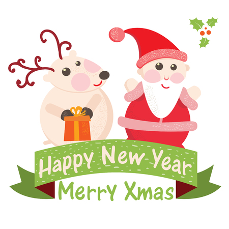 Christmas and New Year Greeting card, Santa Claus with  Deer  Vector