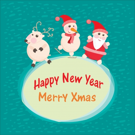 Christmas and New Year Greeting card, Santa Claus with  funny Deer Vector