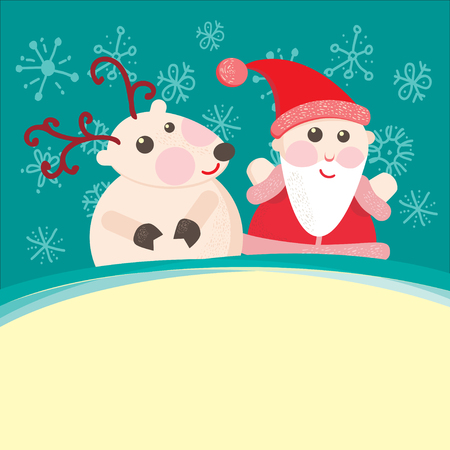 Christmas and New Year Greeting card, Santa Claus with  Deer photo