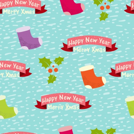 Christmas and New Year seamless background Vector