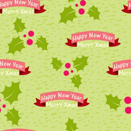 Christmas and New Year seamless background with the words Vector