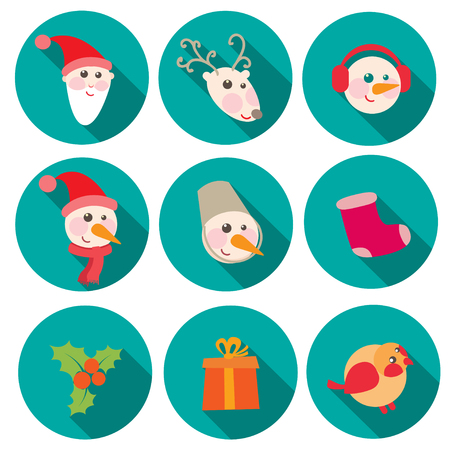 git: New Year and Christmas flat icons set