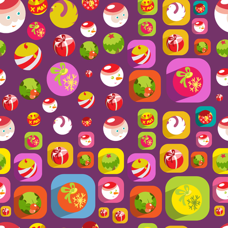 Cute Christmas colorful flat seamless background Stock Vector - 23237746