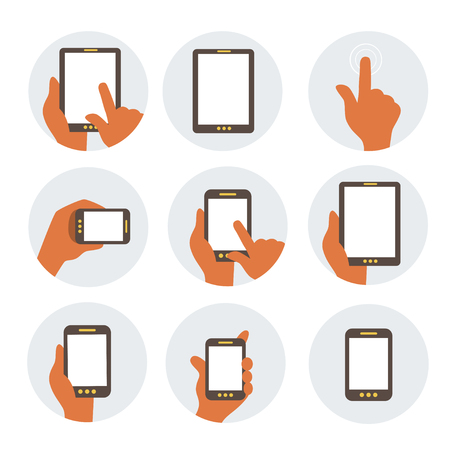 using smartphone: Mobile Communication Flat Icons