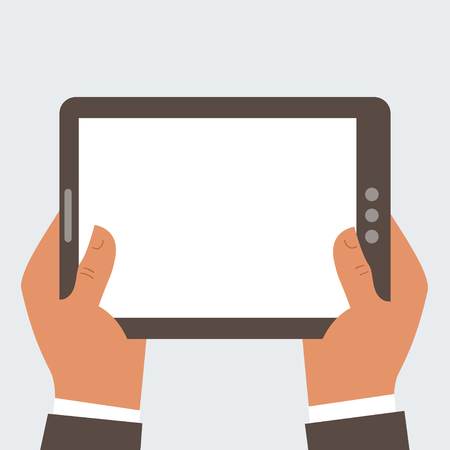 Businessman holding tablet computer with blank screen - free space for your text Stock Vector - 24054613