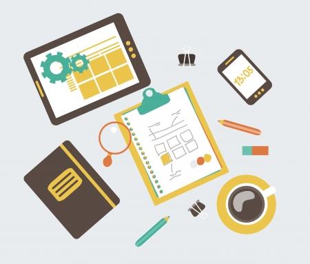 Flat modern illustration, web design development workflow, vector eps 10 Stock Vector - 24054700
