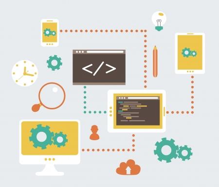 web designer: Flat modern illustration, web design development, vector eps 10 Illustration