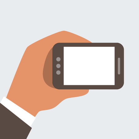 Businessman holding mobile phone with blank screen - free space for your text Stock Vector - 24196980