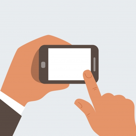 Businessman Touches mobile phone with blank screen - free space for your text Stock Vector - 24198237