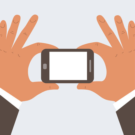 businessman hands holding mobile phone with blank screen - free space for your text Stock Vector - 24198451