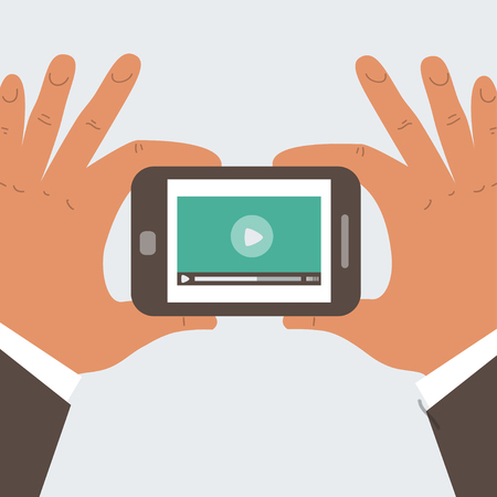 Mobile phone with video player on the screen in the human hands Vector