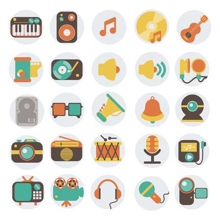 Multimedia vlakke pictogrammen set