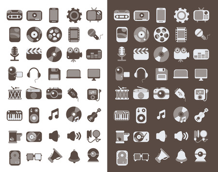 illustration collection: Modern flat icons vector illustration collection of multimedia symbols, sound instruments, audio and video items and objects  Isolated on white background