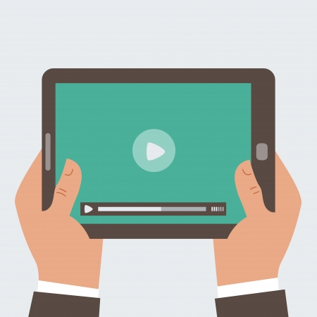 cinema viewing: Businessman holding tablet computer  with video player on the screen in the human hands, Illustration