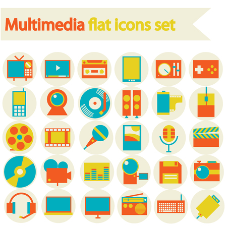 illustration collection: Multimedia flat icons set  Modern flat icons vector illustration collection