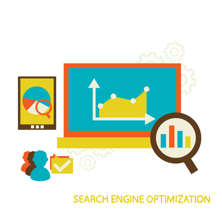 popularity: Flat vector illustration with SEO concept  Modern style designed in colorful colors