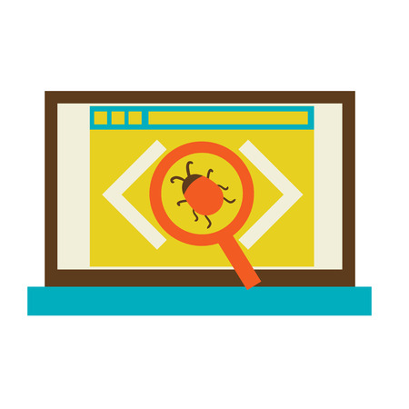 Bug in the programming code  flat Vector illustration eps 10 Vector