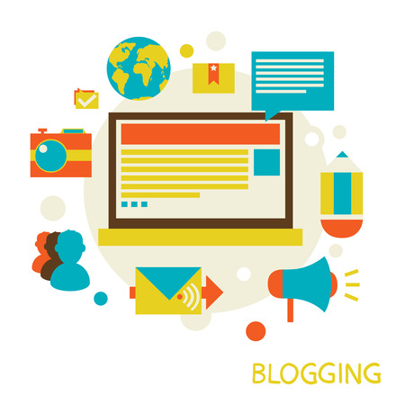 blog icon: vector illustration in a flat style  Blogging and commenting  Eps 10