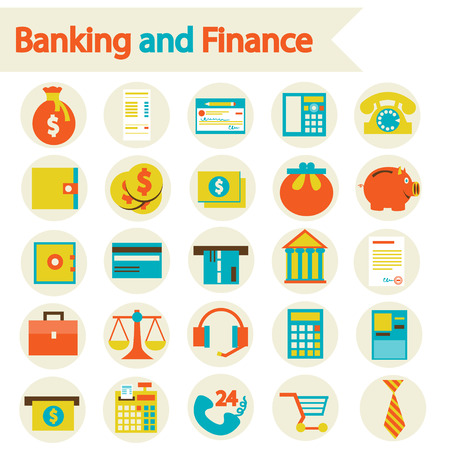Flat vector illustration eps 10  Banking and Finance set icons  Vector