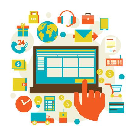 commerce electronique: Design plat commerce �lectronique et divers symbole commercial, �l�ments et icons set moderne illustration vectorielle