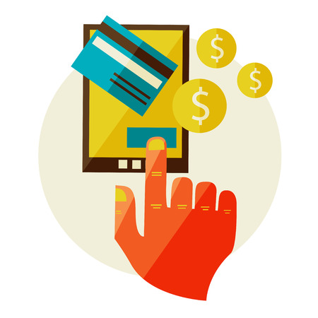 Flat design illustration in  modern stylish processing of mobile payments concept of hand touch screen, vector eps 10  Online purchase on digital tablet  Vector