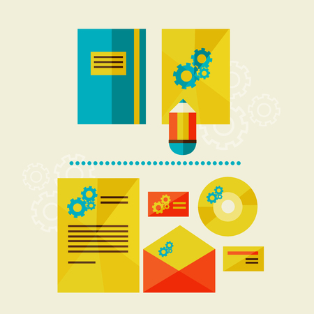brand identity: Corporate identity template  Flat design modern illustration of brand identity style,  illustration objects, company branding  Envelope, cards, business cards, disc with packaging  Icons set vector