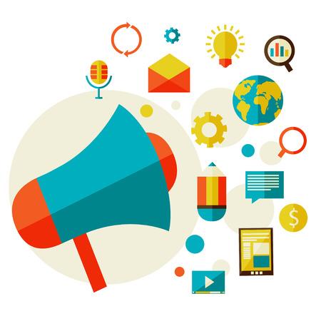 enveloped: Digital marketing concept  in a flat style design modern vector illustration  Set of flat design concept icons