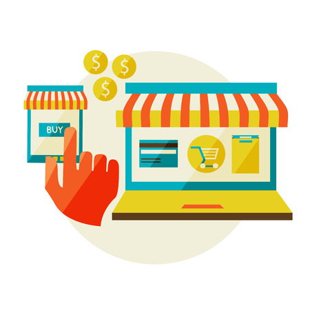 online shopping  Sale, Laptop and smart phone with awning  Vector