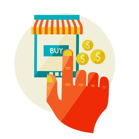 carport: online shopping  Sale  Flat design modern illustration