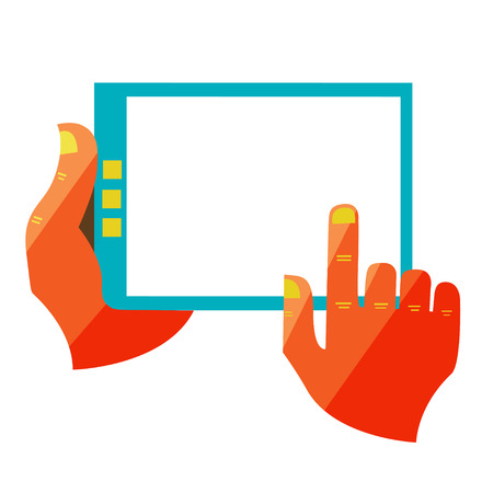 Flat design modern illustration in stylish colors of hand touch screen, mobile phone, Creative concept on digital tablet Vector