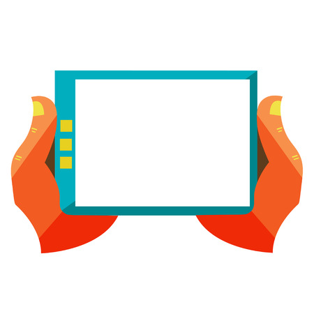 Flat design modern vector illustration in stylish colors of hand touch screen, mobile phone, Creative concept on digital tablet Vector