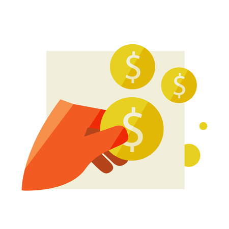 Mans hand holding a coin. Flat design modern vector illustration stylish colors of hand holding a coin Illustration