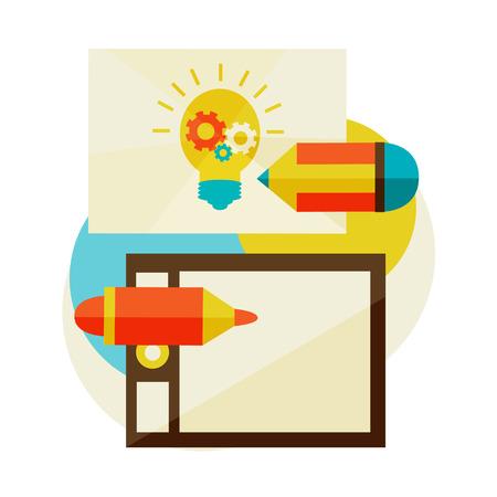 originalidad: Creaci�n de nuevas ideas. inspiraci�n, herramientas de trabajo vector ilustrador y equipos. L�piz de la tableta gr�fica con l�piz. Vectores