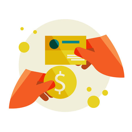 empty wallet: Buying a business card. Flat design modern vector illustration stylish colors of hand holding a business card and hand holding a coin