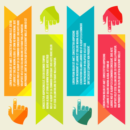 listed buildings: banners for information pointing hand.