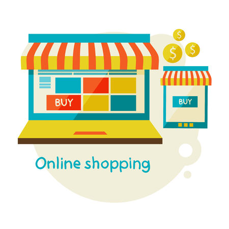 online shopping. Sale, Laptop and smart phone with awning. Flat design modern illustration. Vector