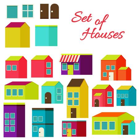 animated film: Flat design modern illustration stylish colors.Set of houses
