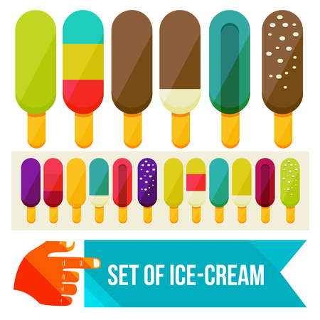 set of ice cream flat vector illustration Vector