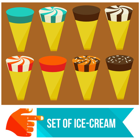 set of ice cream horns flat vector illustration Vector