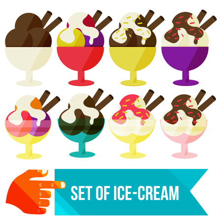 fudge: set of ice cream in a bowl flat vector illustration Illustration