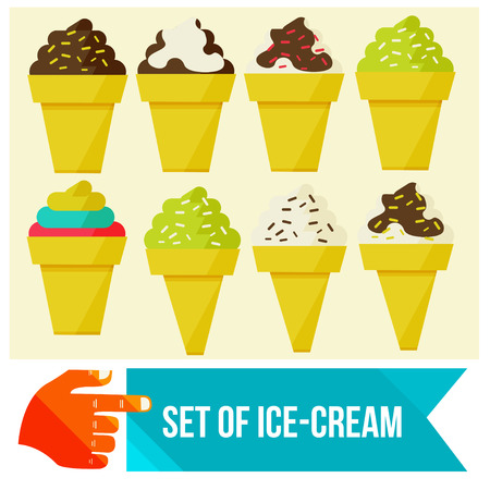 set of Ice cream in waffle cup flat vector illustration Vector