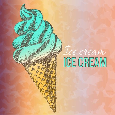 Sweet dessert, Ice cream, hand drawn vector illustration Vector
