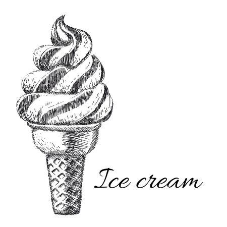 Sweet dessert, Ice cream, hand drawn vector illustration Vector