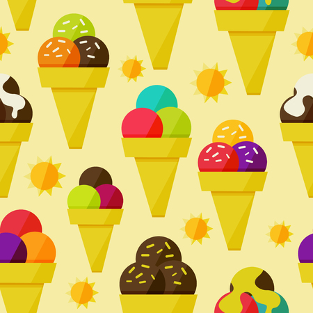 Seamless background with multi-colored ice-cream vector illustration